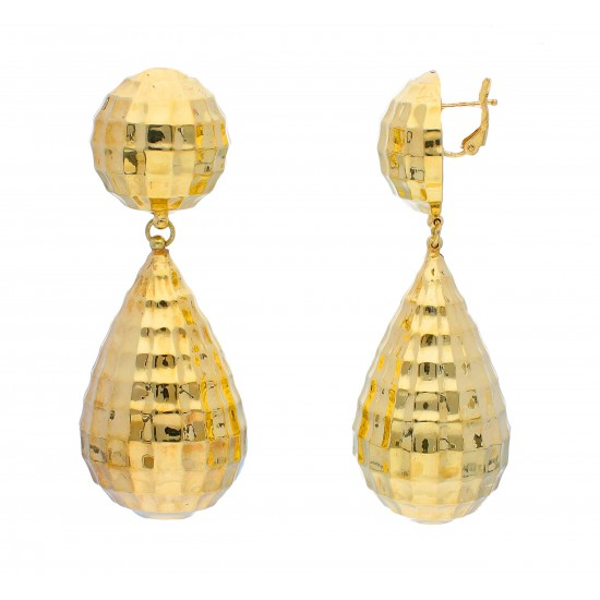 18Kt  Yellow Gold Quilted Textured Drop Earrings