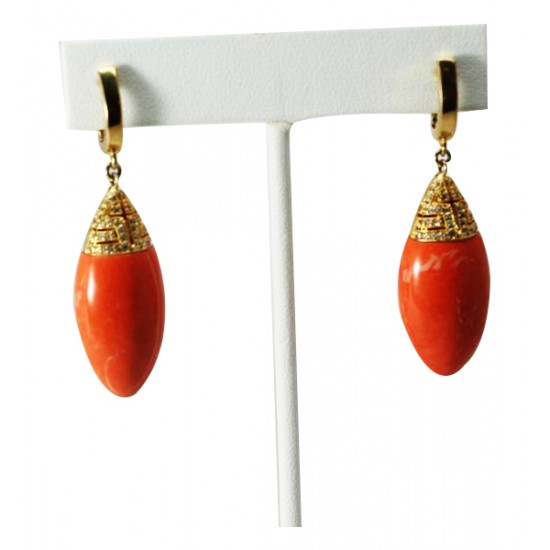 Orange CZ Tear Drop  Earrings