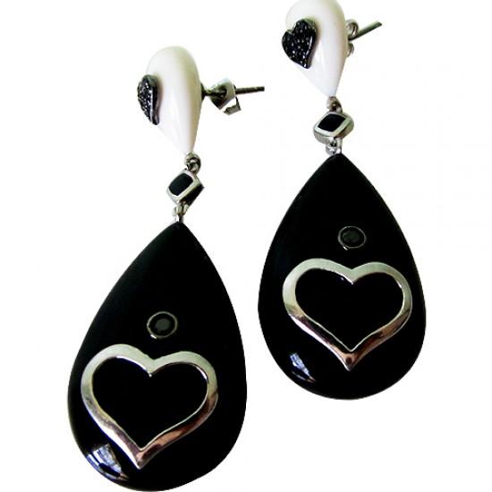 Agate Heart Earrings