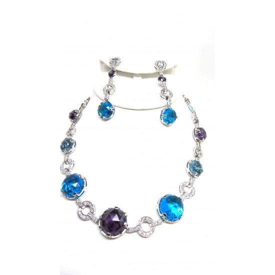 Blue Topaz and Amethyst  gemstone Necklace Set