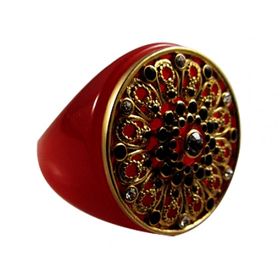 Red Resin Crystal Ring