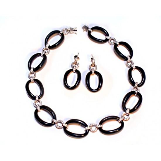 Agate Link CZ Necklace set